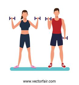 fitness couple training cartoon