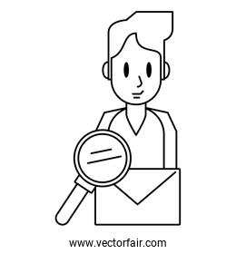 Man with envelope and magnifying glass