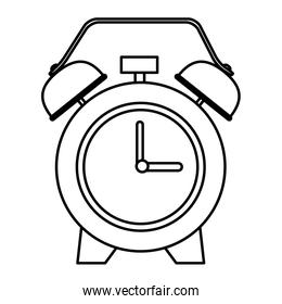 Alarm clock with bells in black and white