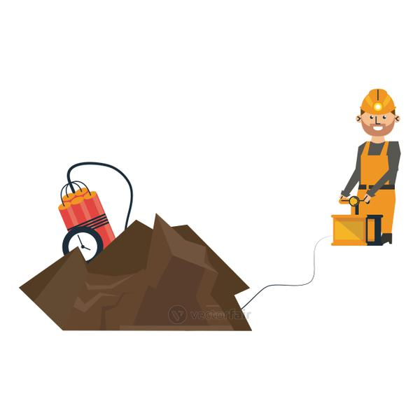 Mining with tnt and worker with detonator