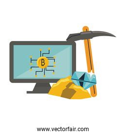 Bitcoin mining from computer and pick tool