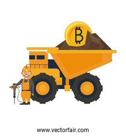 Bitcoin mining truck and worker with drill