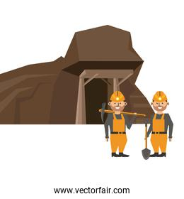 Mining cave and workers with tools