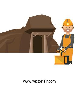 Mining cave and worker with detonator