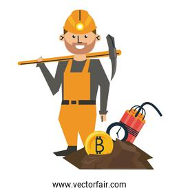 Bitcoin mining worker with pick and tnt