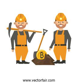 Bitcoin mining and workers with picks