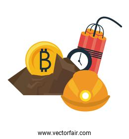 Bitcoin mining with helmet and tnt