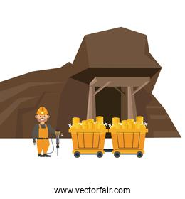 Mining cave and worker with wagon carts
