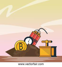 Bitcoin mining with detonator and tnt