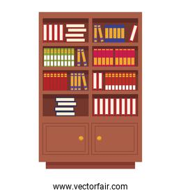 Wooden library with books