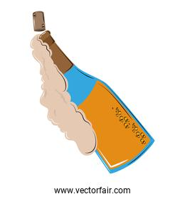 Champagne bottle open with foam