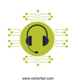 headphone with microphone icon