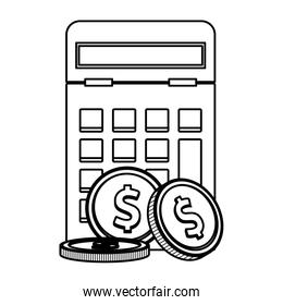 Calculator and coins black and white