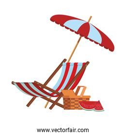 isolated chair beach with umbrella and watermelons