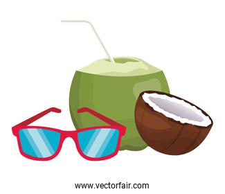 sunglasses with coconut