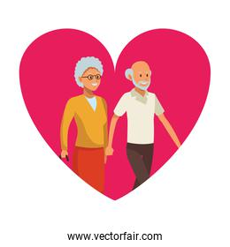 old man and woman heart icon