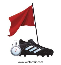 soccer boots and flag