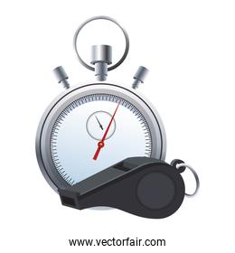 referee whistle and stopwatch