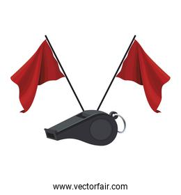referee whistle and flags