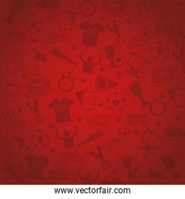 red background with soccer symbols