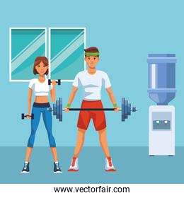 fit couple doing exercise