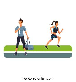 Fitness man and woman running