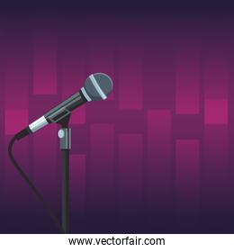 Stage microphone over purple background