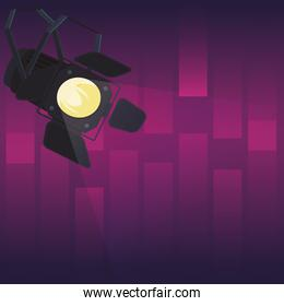 Stage light over purple background
