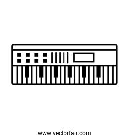 Music keyboard instrument over white