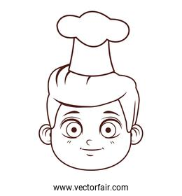 Chef kid smiling face brown lines