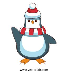 Penguin with hat and scarf cartoon