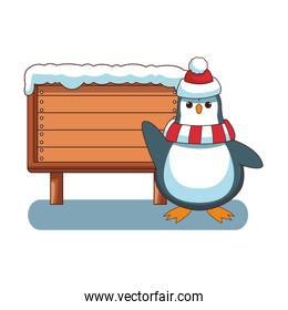 penguin and wooden sign