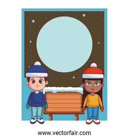 Boy and girl with winter clothes and wooden sign card