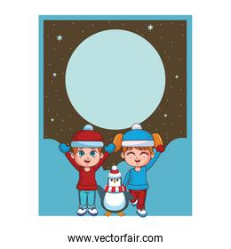 Winter boy and girl with penguin card