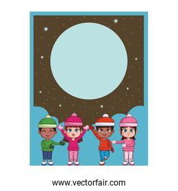 Winter and kids card