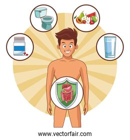 man digestive system well working