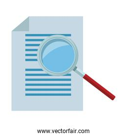 documents and magnifying glass