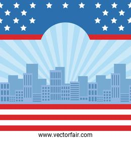 cityscape with united stated flag