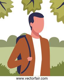 young man in nature profile cartoon