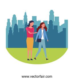 women walking and using smartphone at city park round icon