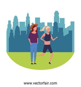 women walking and running at park round icon