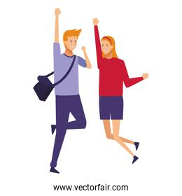 casual outfit couple cheerful jump