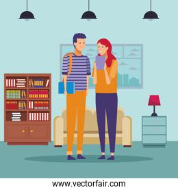 student outfit couple talk house