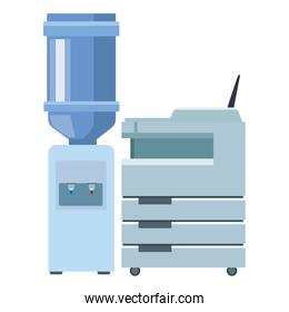 Big bottle of water and technology printer business