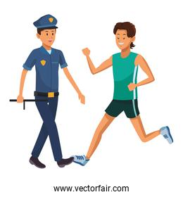 athlete and policeman
