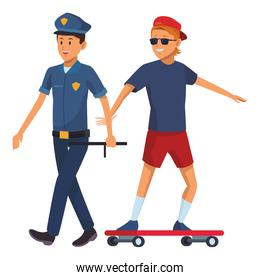 policeman and skateboarder