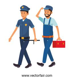 policeman and worker over white