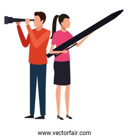 couple with telescope