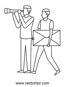 men with envelope and telescope