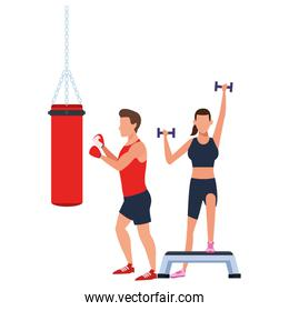 couple working out in the gym